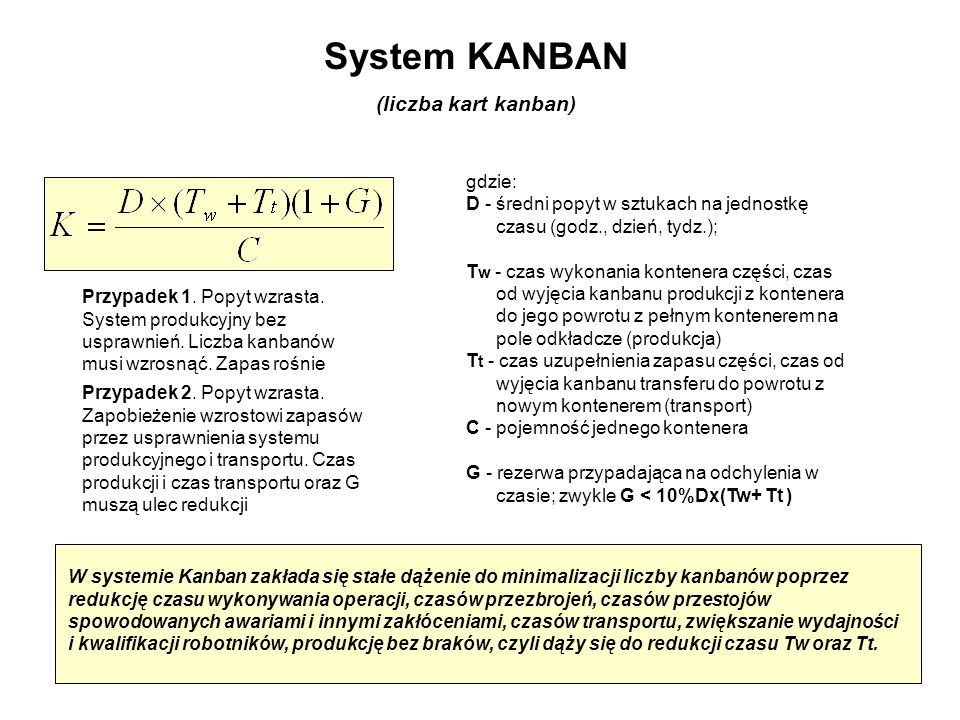System KANBAN (liczba kart kanban) gdzie: