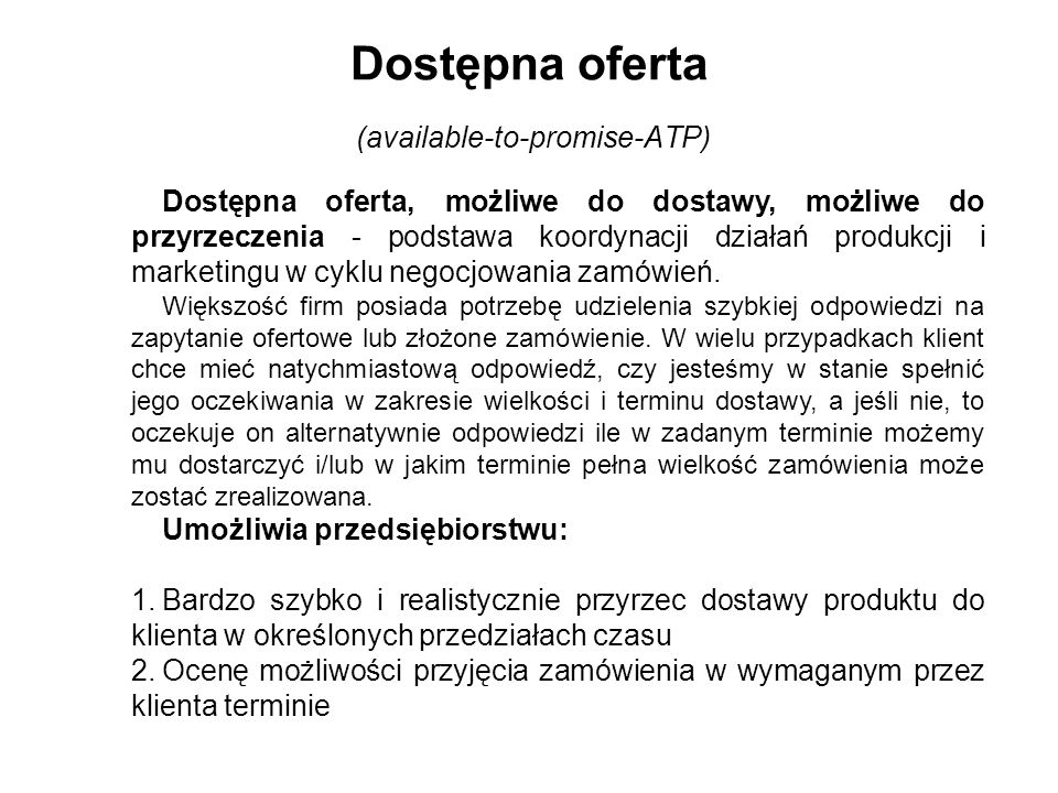Dostępna oferta (available-to-promise-ATP)