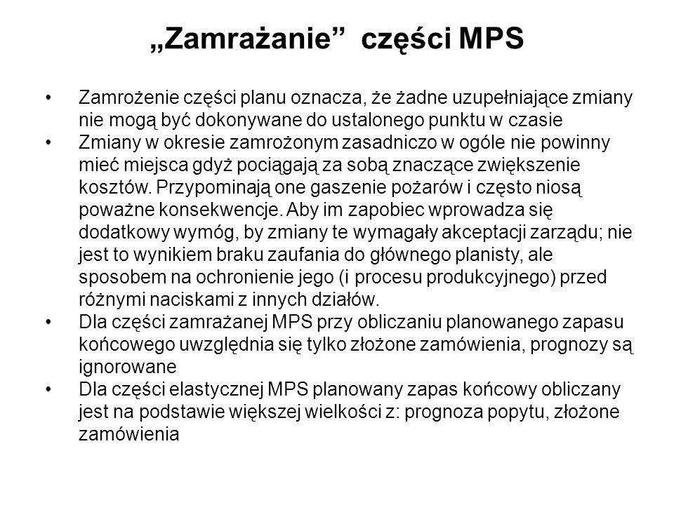"""""""Zamrażanie części MPS"""