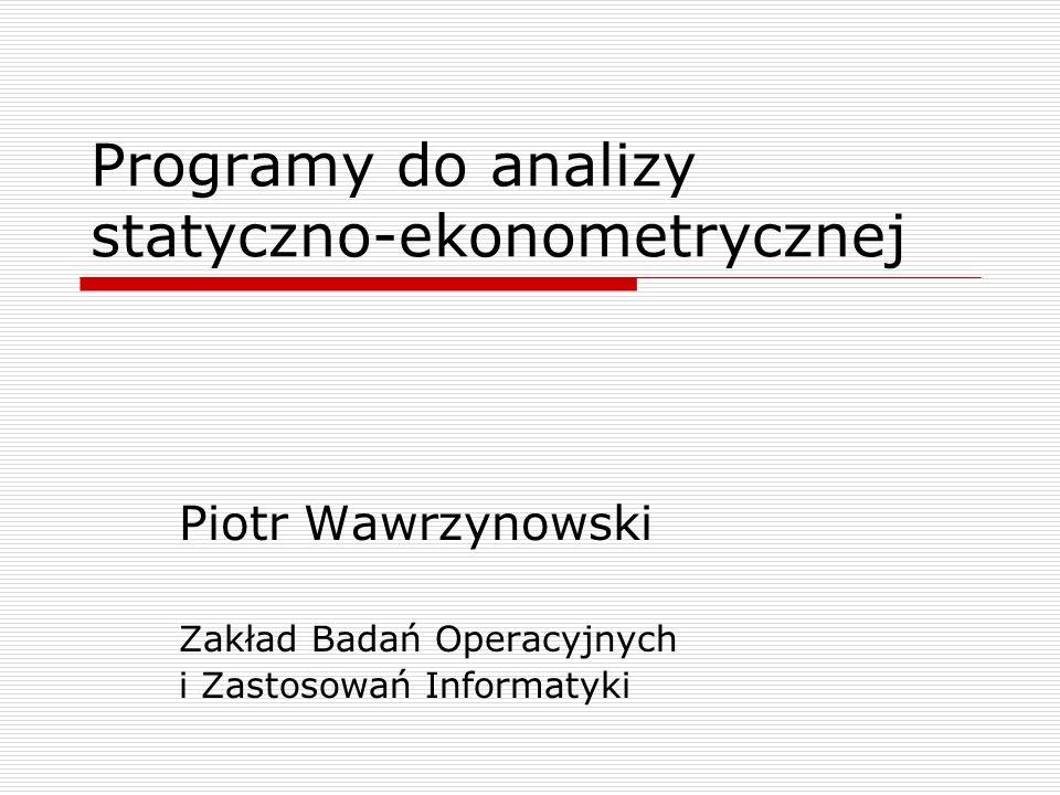 Programy do analizy statyczno-ekonometrycznej