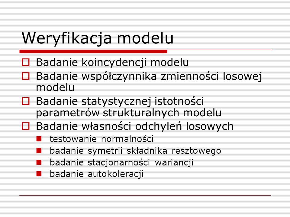 Weryfikacja modelu Badanie koincydencji modelu