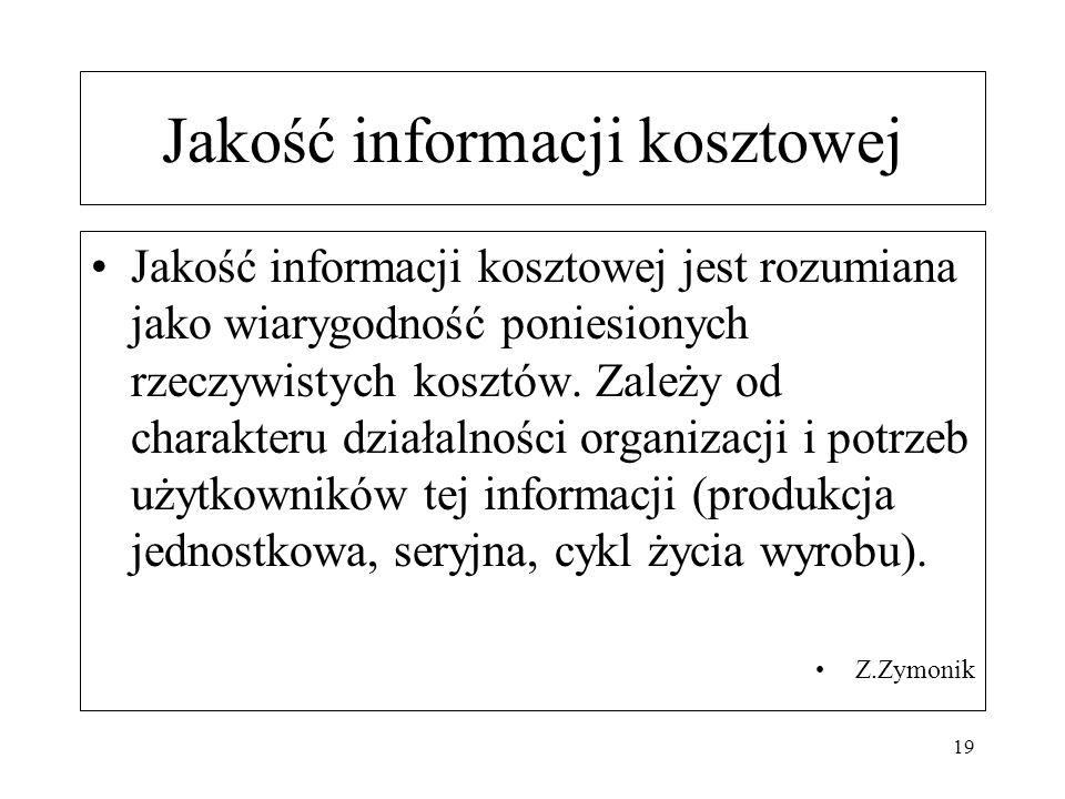 Jakość informacji kosztowej