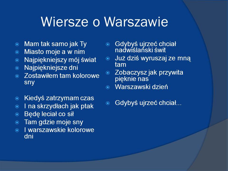 Wiersze o Warszawie Mam tak samo jak Ty