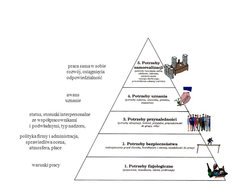 praca sama w sobie rozwój, osiągnięcia. odpowiedzialność. awans. uznanie. status, stosunki interpersonalne ze współpracownikami.