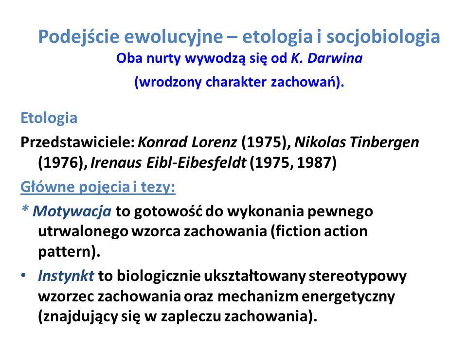 Podejście ewolucyjne – etologia i socjobiologia Oba nurty wywodzą się od K. Darwina (wrodzony charakter zachowań).