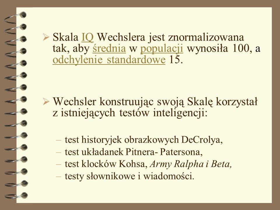 Skala IQ Wechslera jest znormalizowana tak, aby średnia w populacji wynosiła 100, a odchylenie standardowe 15.