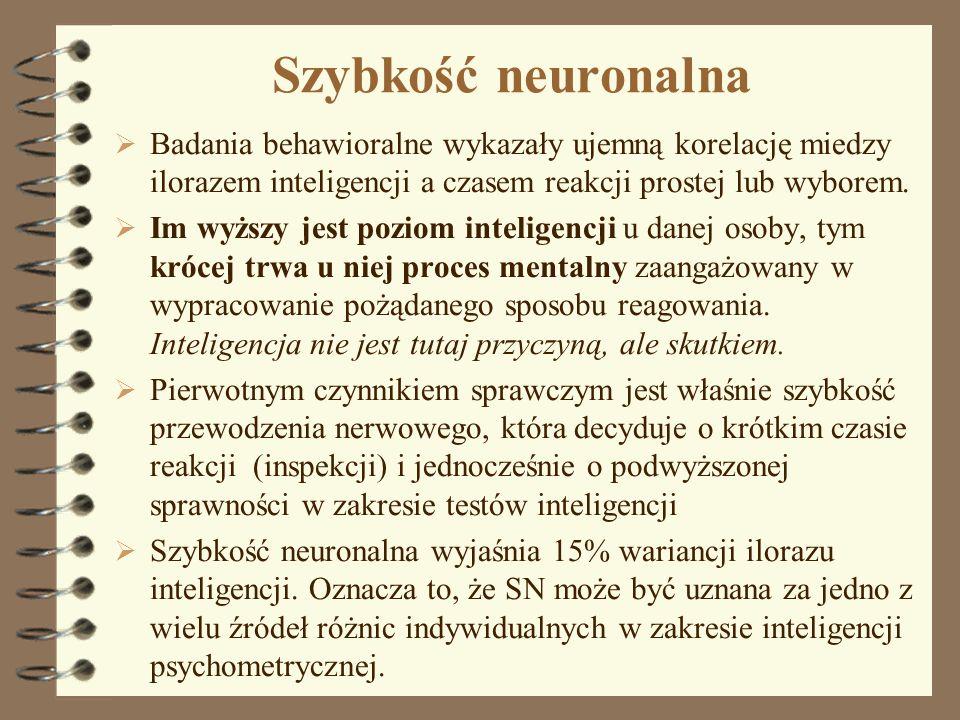 Szybkość neuronalna Badania behawioralne wykazały ujemną korelację miedzy ilorazem inteligencji a czasem reakcji prostej lub wyborem.