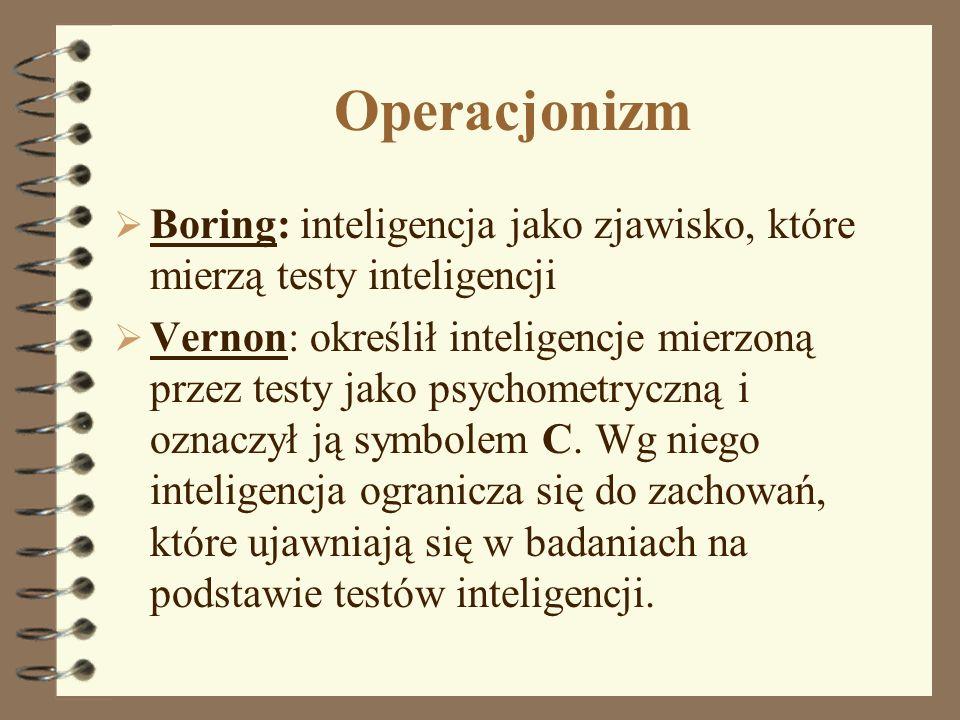 Operacjonizm Boring: inteligencja jako zjawisko, które mierzą testy inteligencji.