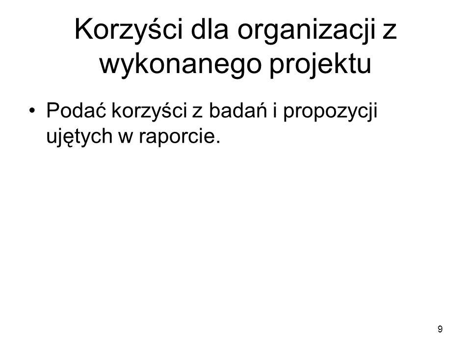 Korzyści dla organizacji z wykonanego projektu