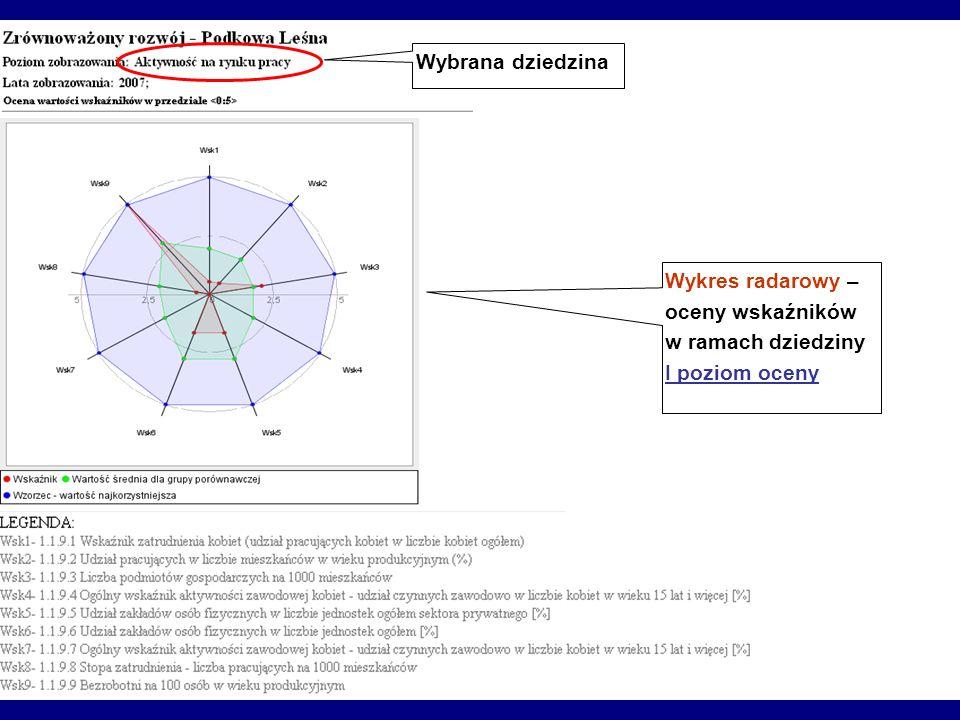 Wybrana dziedzina Wykres radarowy – oceny wskaźników w ramach dziedziny I poziom oceny