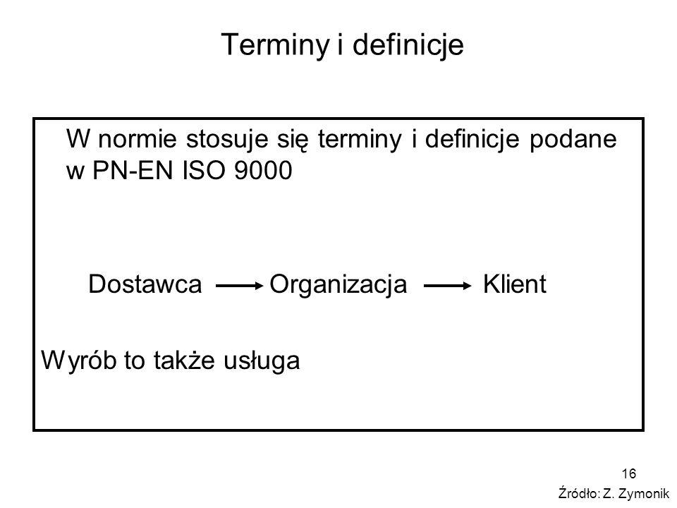 Terminy i definicje W normie stosuje się terminy i definicje podane w PN-EN ISO 9000. Dostawca Organizacja Klient.
