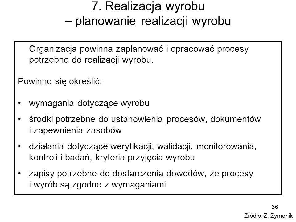 7. Realizacja wyrobu – planowanie realizacji wyrobu