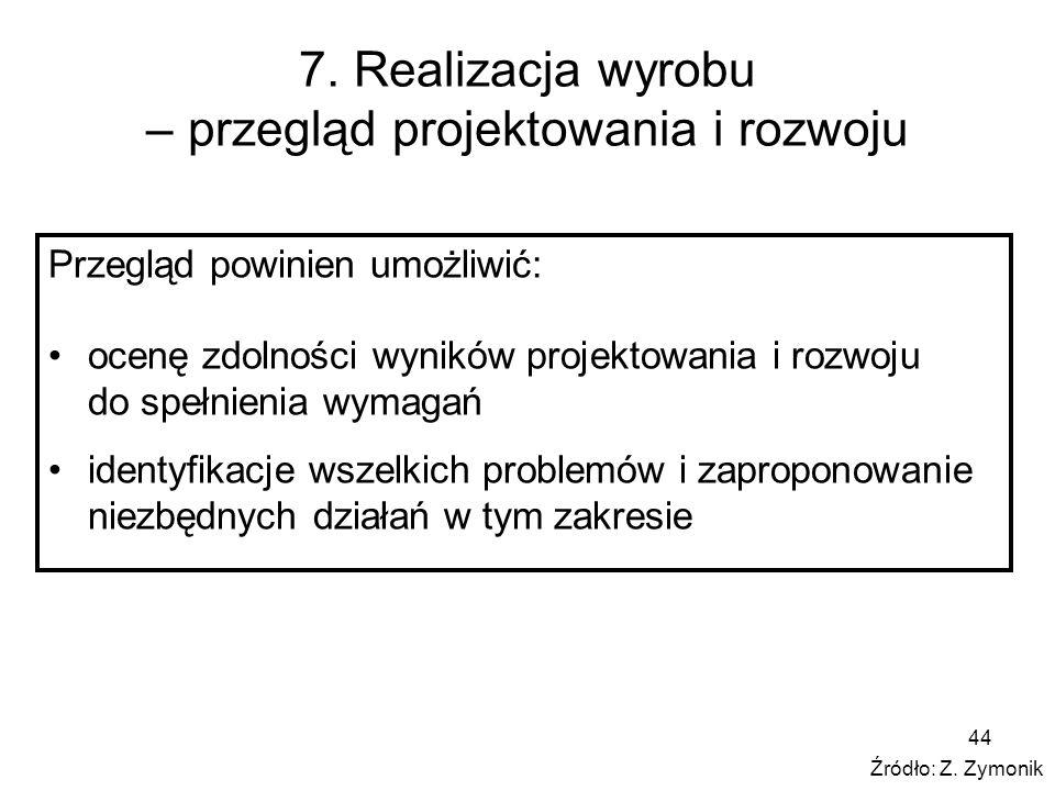 7. Realizacja wyrobu – przegląd projektowania i rozwoju