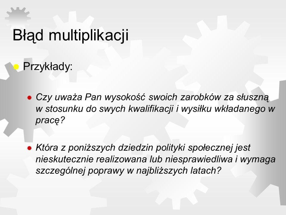 Błąd multiplikacji Przykłady: