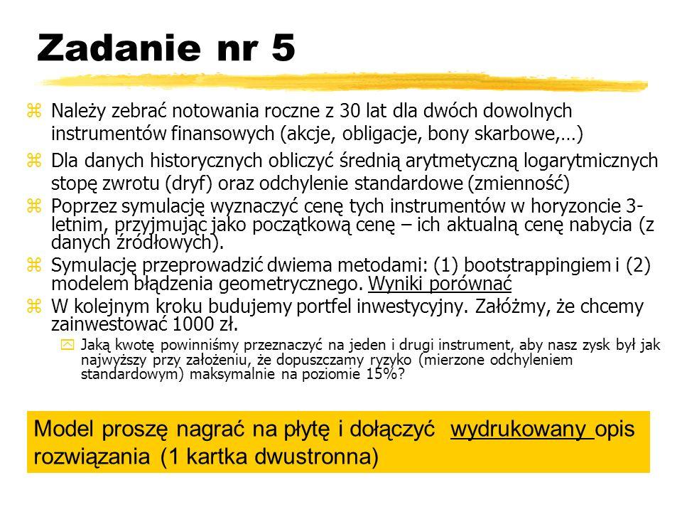 Zadanie nr 5 Należy zebrać notowania roczne z 30 lat dla dwóch dowolnych instrumentów finansowych (akcje, obligacje, bony skarbowe,…)