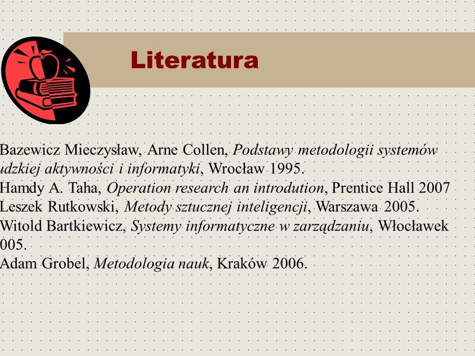 LiteraturaBazewicz Mieczysław, Arne Collen, Podstawy metodologii systemów ludzkiej aktywności i informatyki, Wrocław 1995.