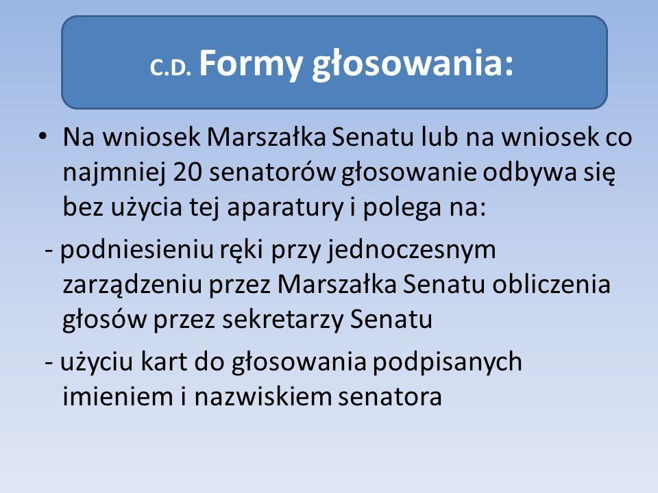 - użyciu kart do głosowania podpisanych imieniem i nazwiskiem senatora