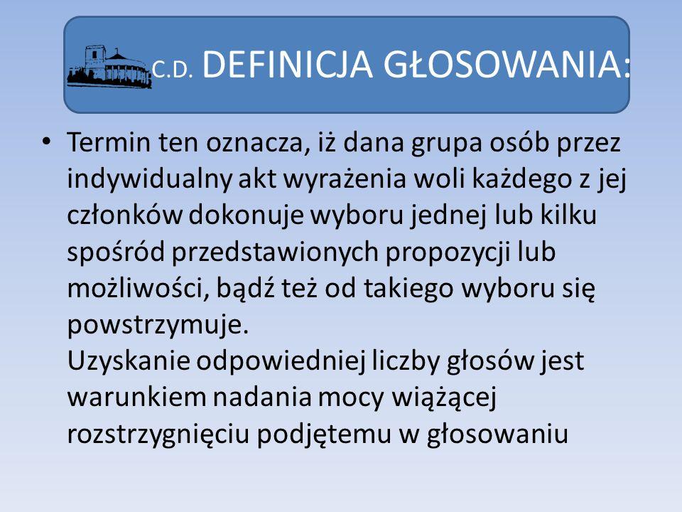 C.D. DEFINICJA GŁOSOWANIA: