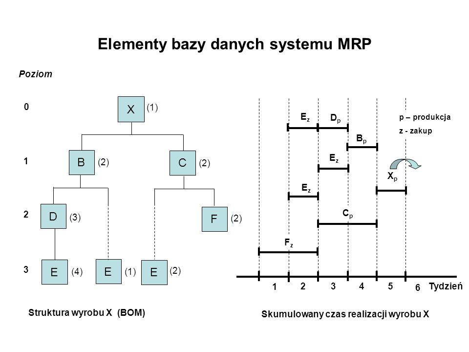 Elementy bazy danych systemu MRP
