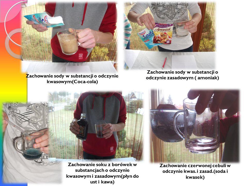 Zachowanie sody w substancji o odczynie zasadowym ( amoniak)