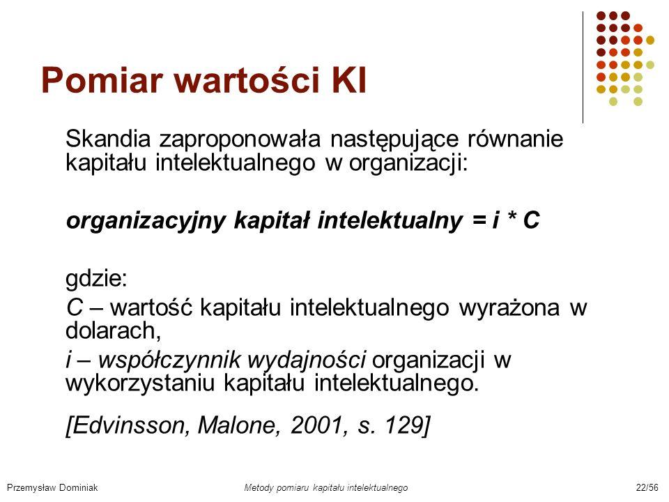 Pomiar wartości KISkandia zaproponowała następujące równanie kapitału intelektualnego w organizacji: