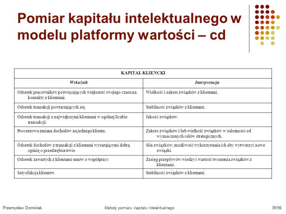 Pomiar kapitału intelektualnego w modelu platformy wartości – cd