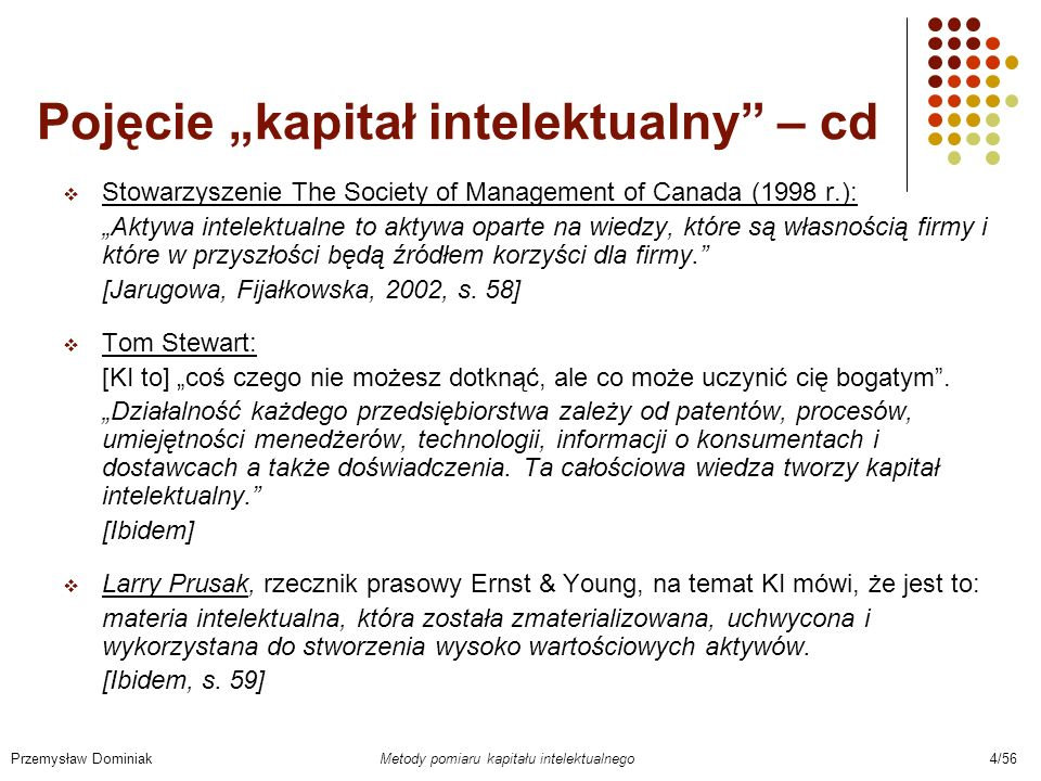 """Pojęcie """"kapitał intelektualny – cd"""