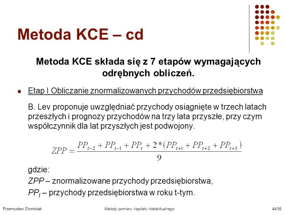 Metoda KCE składa się z 7 etapów wymagających odrębnych obliczeń.