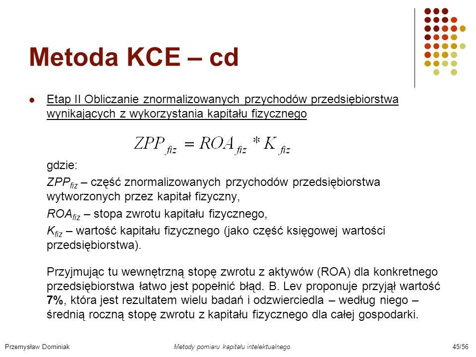 Metoda KCE – cd Etap II Obliczanie znormalizowanych przychodów przedsiębiorstwa wynikających z wykorzystania kapitału fizycznego.
