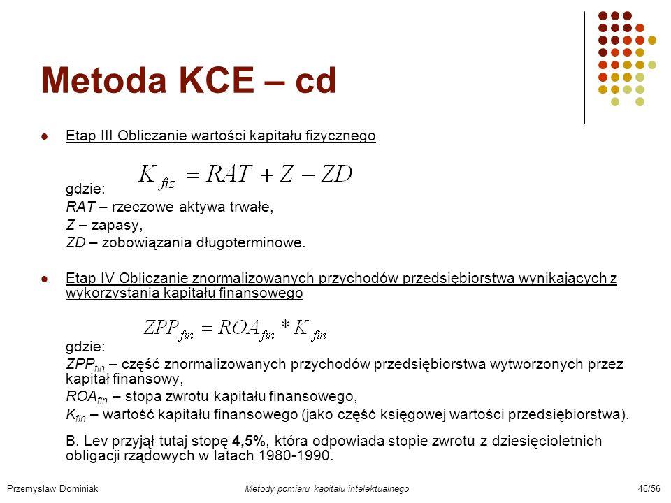 Metoda KCE – cd Etap III Obliczanie wartości kapitału fizycznego