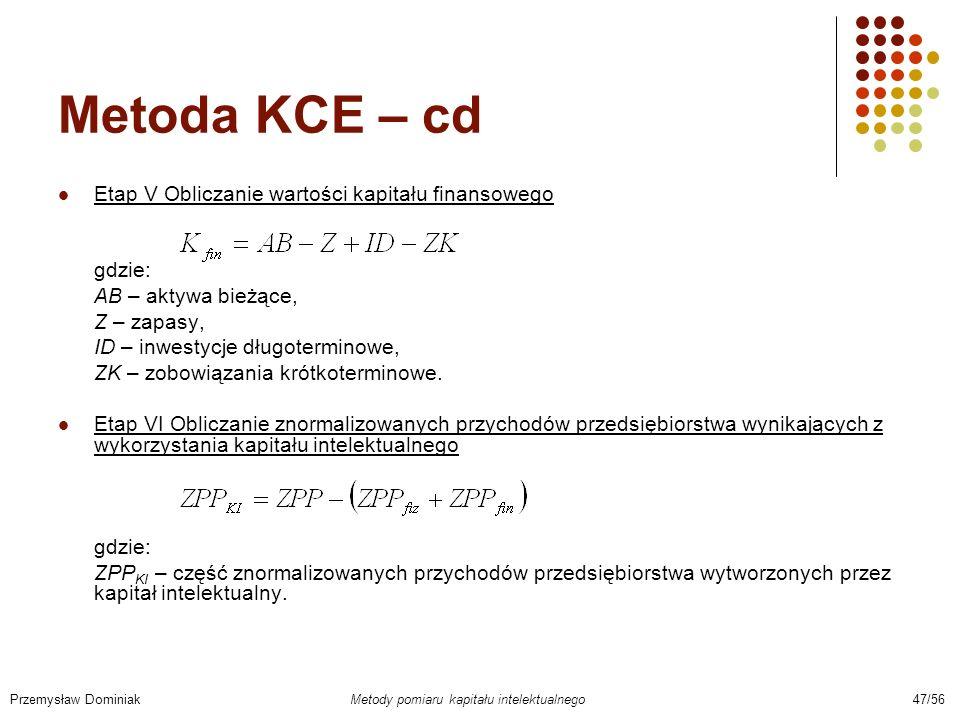Metoda KCE – cd Etap V Obliczanie wartości kapitału finansowego gdzie: