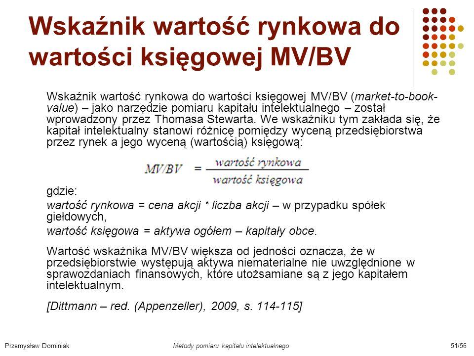 Wskaźnik wartość rynkowa do wartości księgowej MV/BV