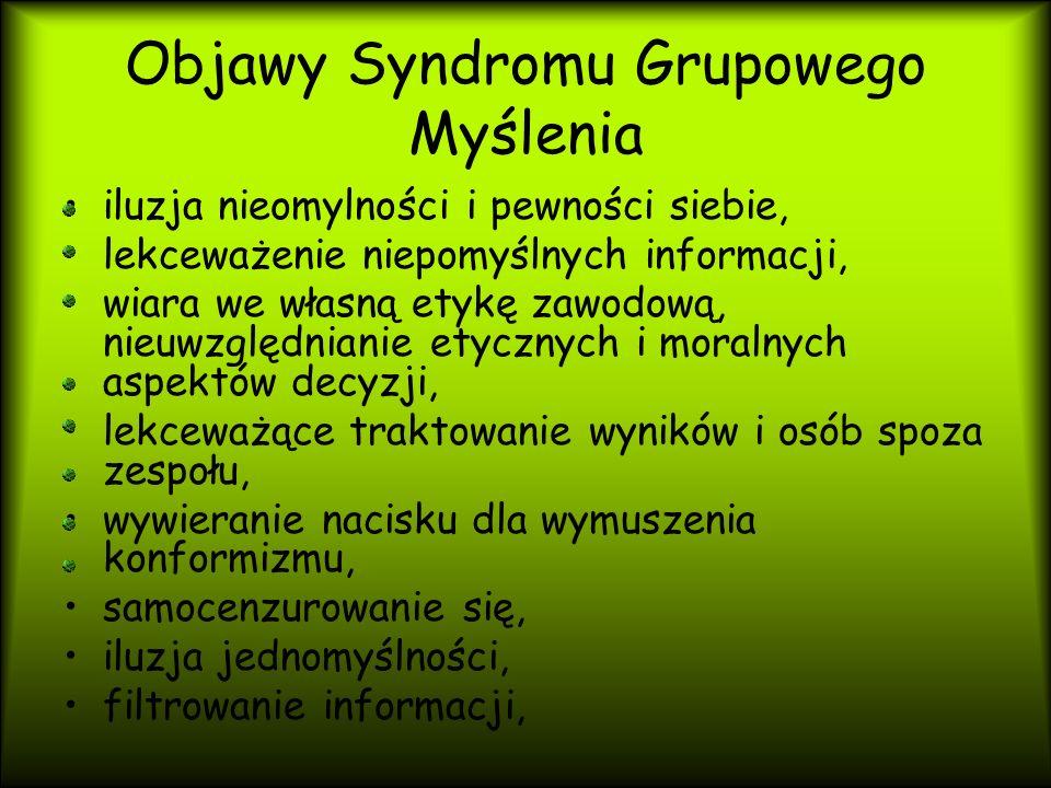 Objawy Syndromu Grupowego Myślenia