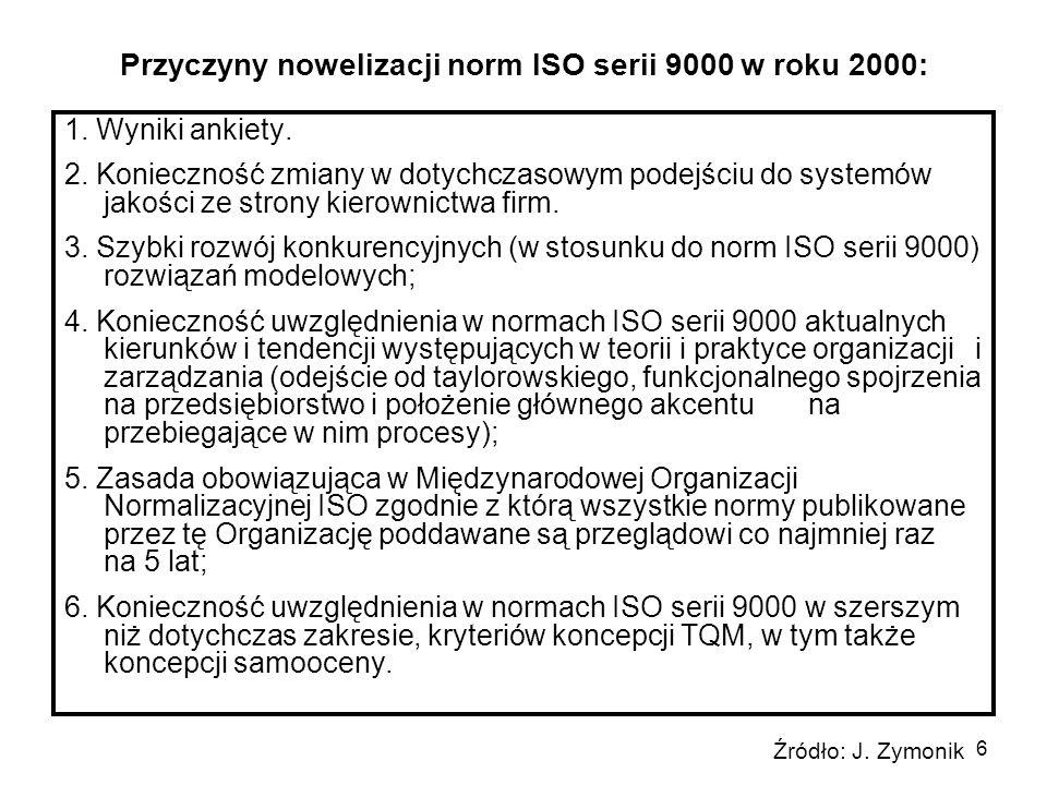 Przyczyny nowelizacji norm ISO serii 9000 w roku 2000: