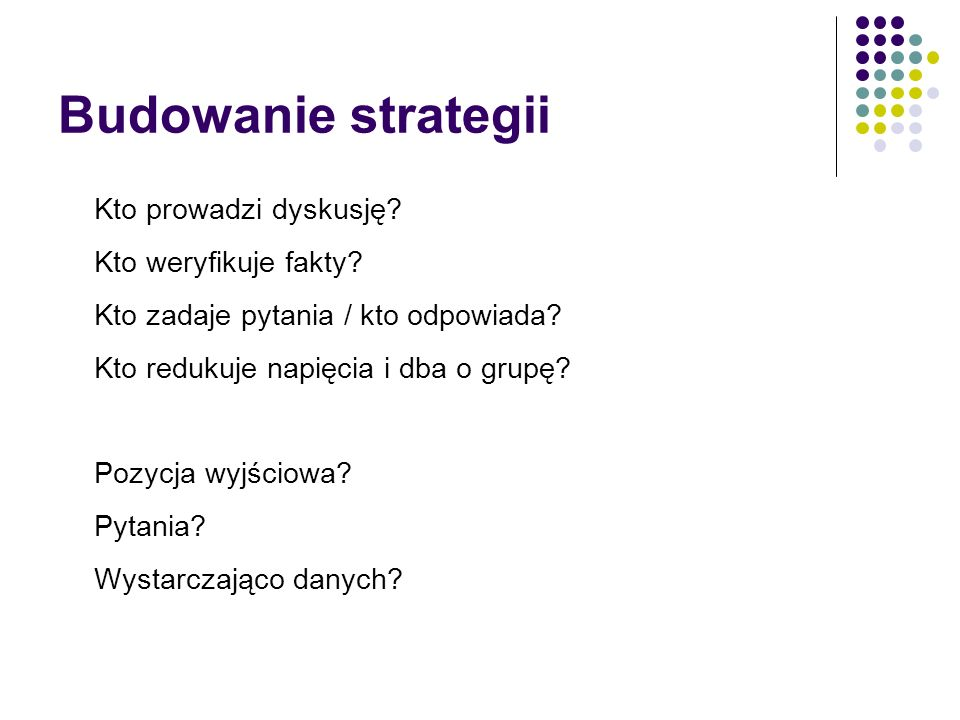 Budowanie strategii Kto prowadzi dyskusję Kto weryfikuje fakty