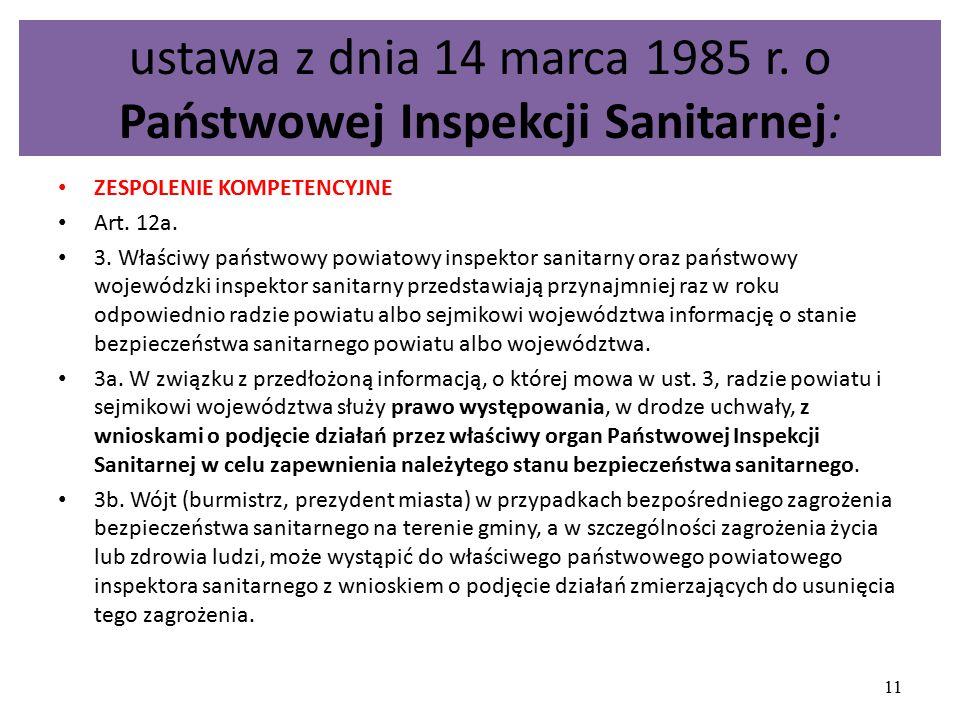 ustawa z dnia 14 marca 1985 r. o Państwowej Inspekcji Sanitarnej:
