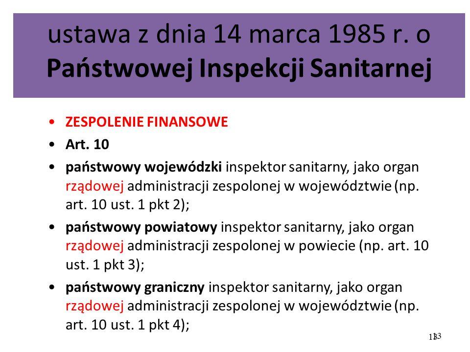 ustawa z dnia 14 marca 1985 r. o Państwowej Inspekcji Sanitarnej