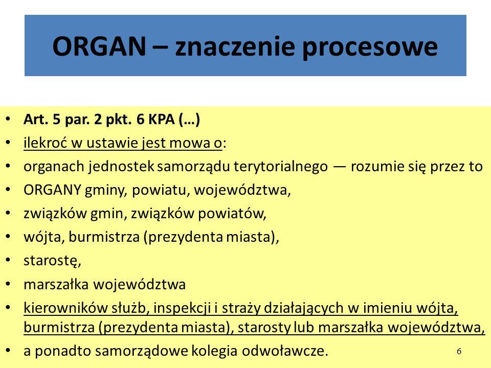 ORGAN – znaczenie procesowe