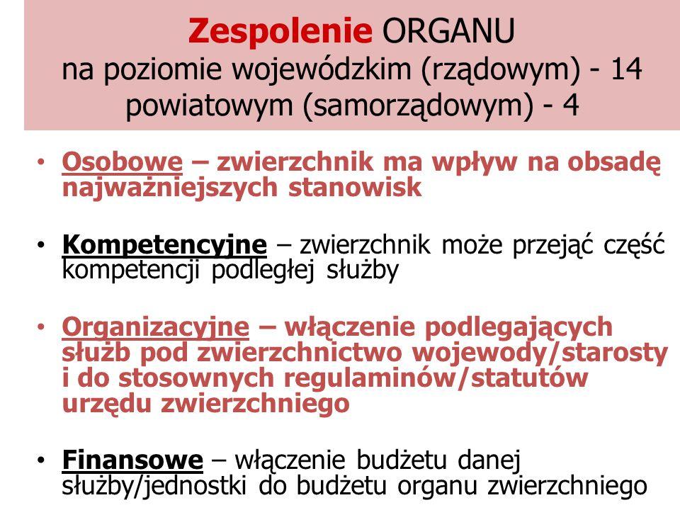 Zespolenie ORGANU na poziomie wojewódzkim (rządowym) - 14 powiatowym (samorządowym) - 4