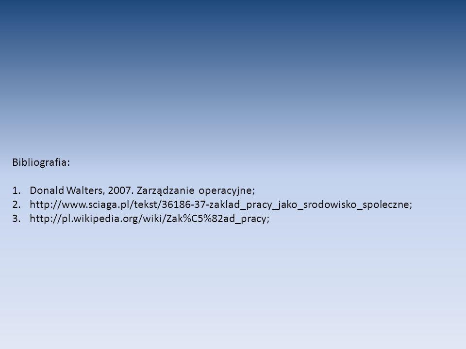 Bibliografia: Donald Walters, 2007. Zarządzanie operacyjne; http://www.sciaga.pl/tekst/36186-37-zaklad_pracy_jako_srodowisko_spoleczne;