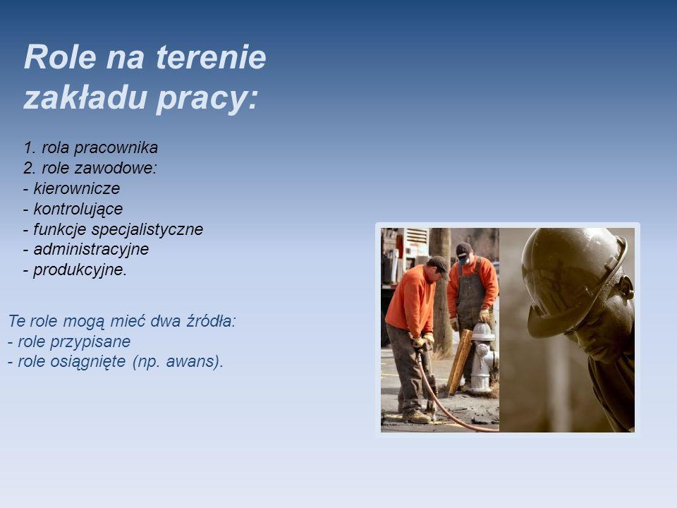 Role na terenie zakładu pracy: