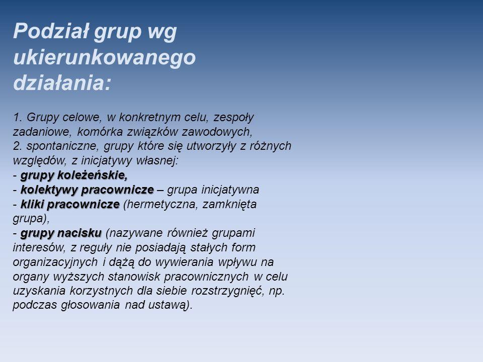 Podział grup wg ukierunkowanego działania: