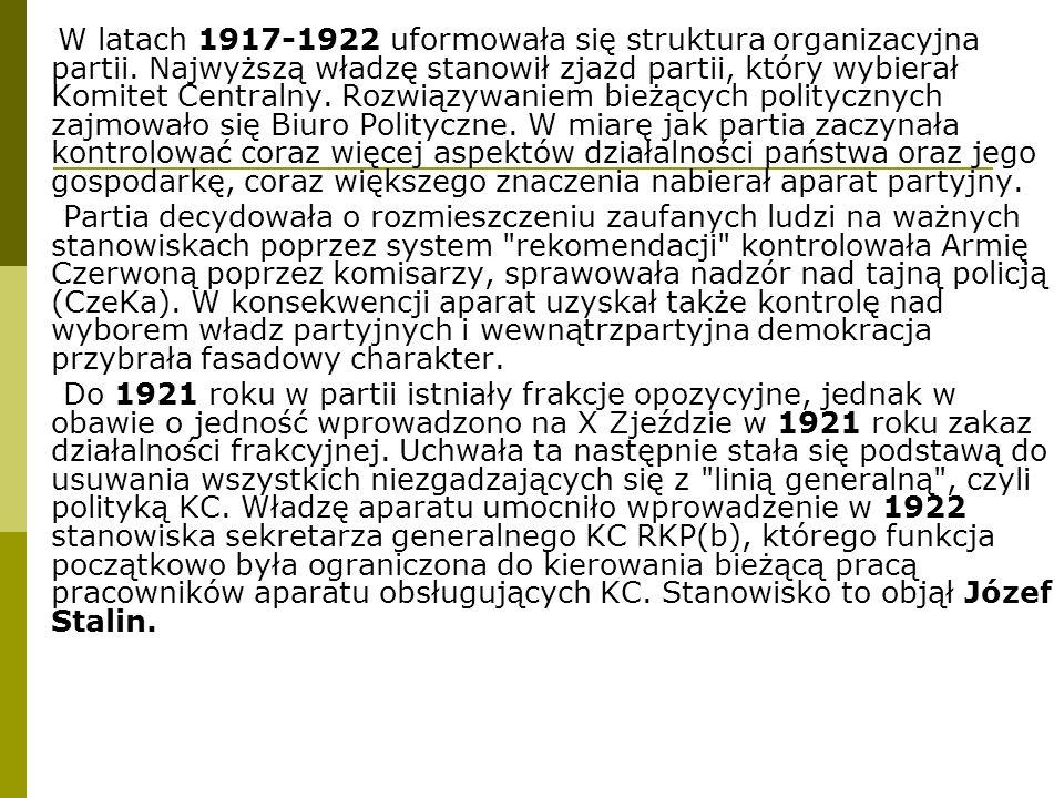 W latach 1917-1922 uformowała się struktura organizacyjna partii