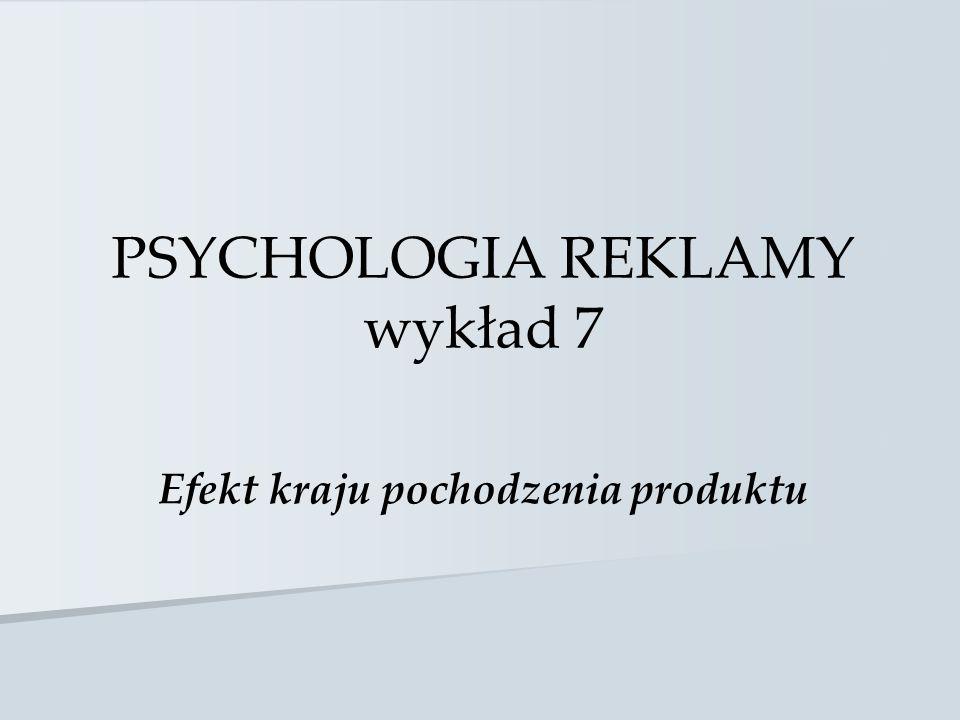 PSYCHOLOGIA REKLAMY wykład 7