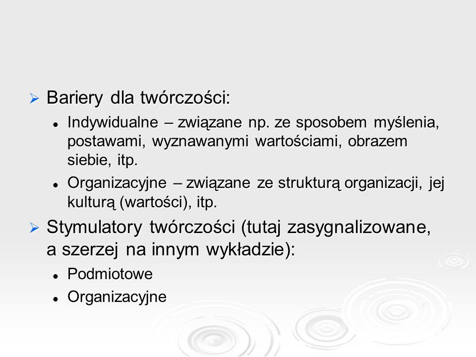 Bariery dla twórczości: