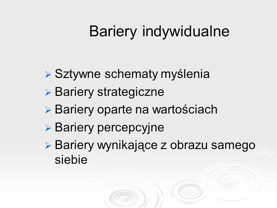Bariery indywidualne Sztywne schematy myślenia Bariery strategiczne