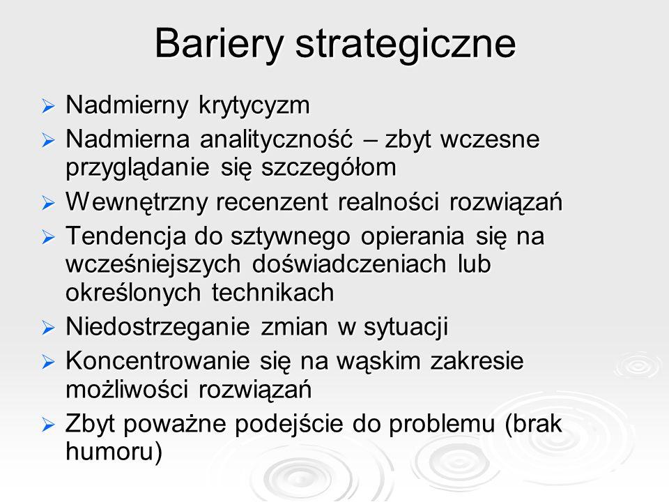 Bariery strategiczne Nadmierny krytycyzm