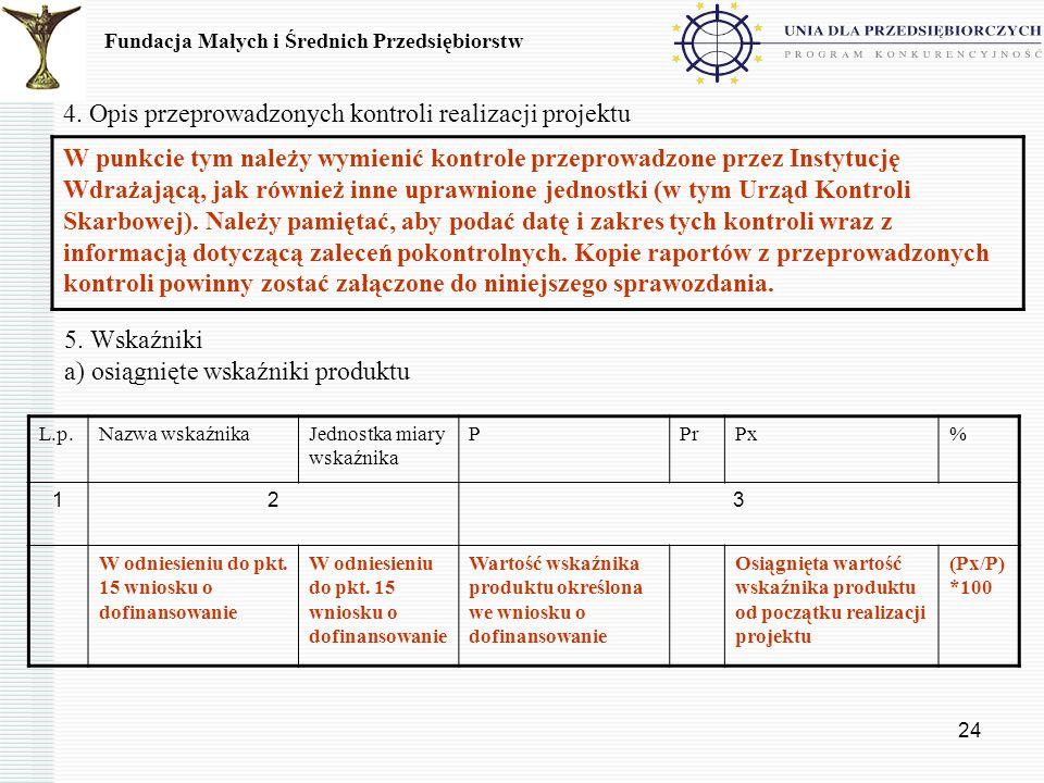 4. Opis przeprowadzonych kontroli realizacji projektu