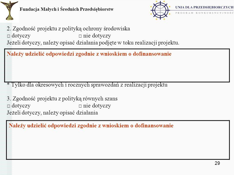 2. Zgodność projektu z polityką ochrony środowiska