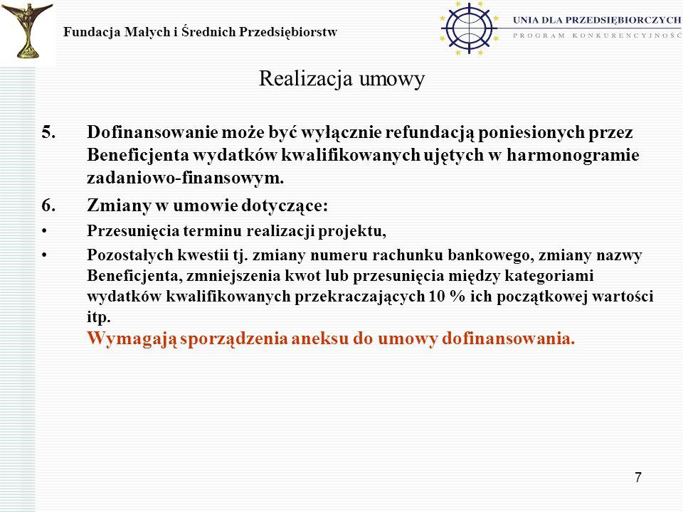 Realizacja umowy Fundacja Małych i Średnich Przedsiębiorstw.